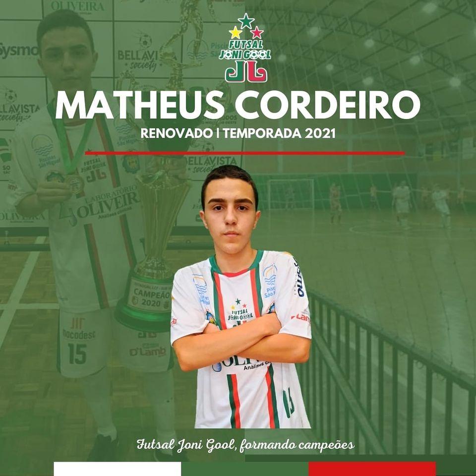 Matheus Cordeiro seguirá defendendo as cores do Futsal JONI GOOL em 2021